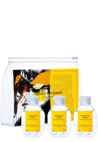Парфюмированный гель-санитайзер для рук Mango Skin. Набор 75 мл*3 шт в косметичке (Vilhelm Parfumerie)